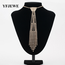 YFJEWE New Design Wedding Jewelry Necklace Bride Rhinestone Tie Accessories Wedding Jewellery Statement Necklace for Gift N340(China)