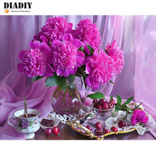 5d Diy Diamond Painting Carnations Cross Stitch Diamond Embroidery Flowers Crystal Round Diamond Mosaic Pictures Needlework(China)