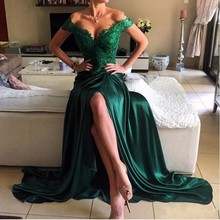 Robe De Soiree Emerald Green Lace Evening Dresses 2017 Off The Shoulder V Neck Backless High Slit Satin Long Evening Party Gowns