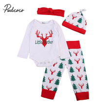 2017 pudcoco Newest Arrivals Hot 4PCS Baby Girls Boys Christmas Sweet Casual Clothes Romper Tops T-shirt Pant Outfits Family Set