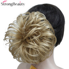 Strong Beauty Fake Hair Chignon Bun Synthetic Short Blonde Black Flower Hairpieces Extension