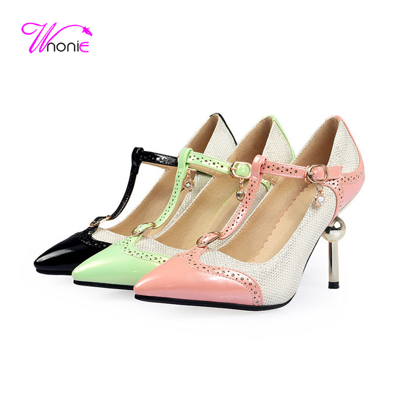 2017 Fashion Women Pumps T-strap High Strange Thin Heel Glitter PU Patent Leather Pointed Toe Autumn Dress Party Ladies Shoes<br><br>Aliexpress