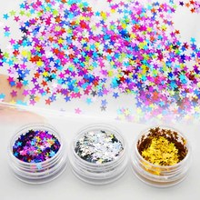 Glitter Star Nail Art Decorations 1 Box Laser Nail Sequins Sparkle Colorful  Gold Silver Paillette Tips Decor Manicure SF0062