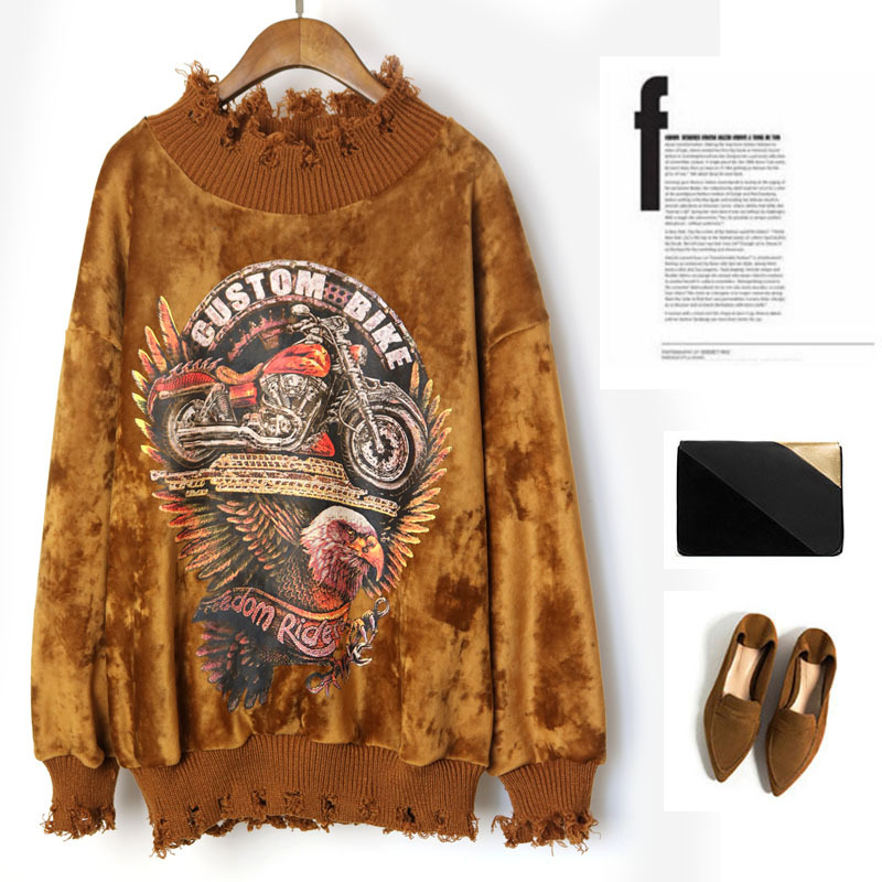 Olrain New Women Casual Loose Fashion Tassel Holes Street Hip Hop Tops Sweatershirt Ripped Velvet Eagle Print Stitching Hoodies