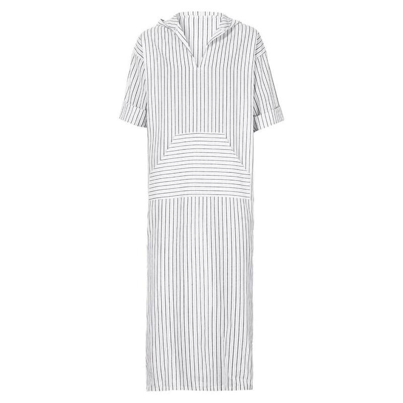 1126b62240 2019 Muslim Style Mens Dress Kaftan Robe White Striped Long Shirts ...