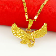 Wholesale 24k in jewelry New Arrival Gold 24k gold necklace solid Gold Pendant Necklace Men Jewelry Eagle necklace YA058