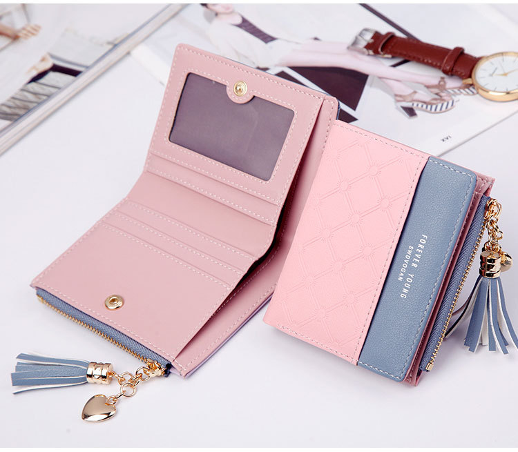 2018 Fashion Ladies Wallet Female Short Zipper Coin Purse Small Wallets Young Womens Tassel Hasp Purses Button Card Holder Pouch 68
