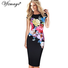 Vfemage Womens Elegant Flower Floral Printed Ruched Cap Sleeve Ruffle Casual bridesmaid Mother of Bride Evening Party Dress 3077(China)