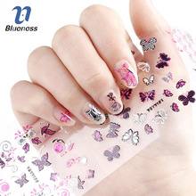 24Pcs in 1 Large Size Sheet Flowers Butterfly Pattern  Stamping 3D Nail Sticker Charms Bronzing Nails Art Decal Animal Cute