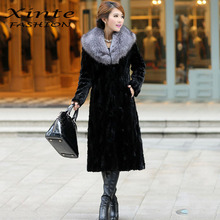 Winter Fur Coat Long Outwear Faux/imitation Mink Fur with Faux Fur Collar Warm Clothing Plus Size S-6XL
