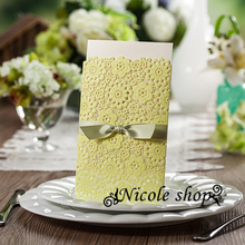 30psc Lemon Yellow Green Wedding Invitations Lawn Wedding Invitation Card Party Supplies for Bride Diy Decoration Mariage