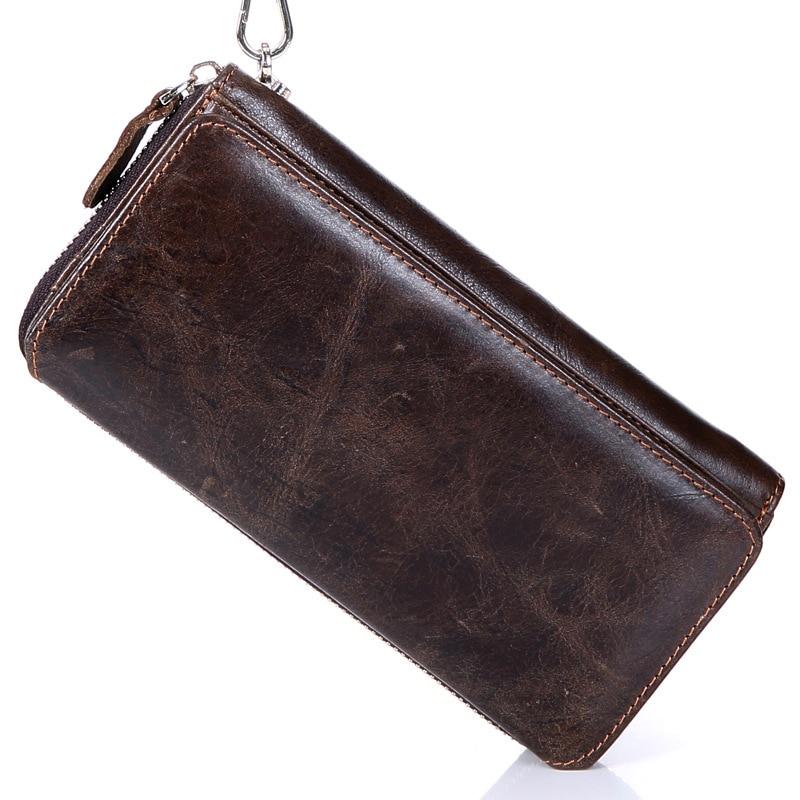 Vintage Genuine Leather Coffee Male Clutch Wallet Top Layer Cowhide Men Long Hand Take Purse Big Capacity Notecase PR259029<br>