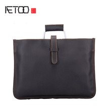 AETOO New leather professional business handbag retro crazy horse skin shoulder bag cross package ultra-thin computer file envel(China)