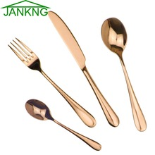 JANKNG 4Pcs/Lot Rose Gold Stainless Steel Plated Dinnerware Set Dinner Knife Fork Dinner Mirror Polishing Cutlery Set Service 1(China)
