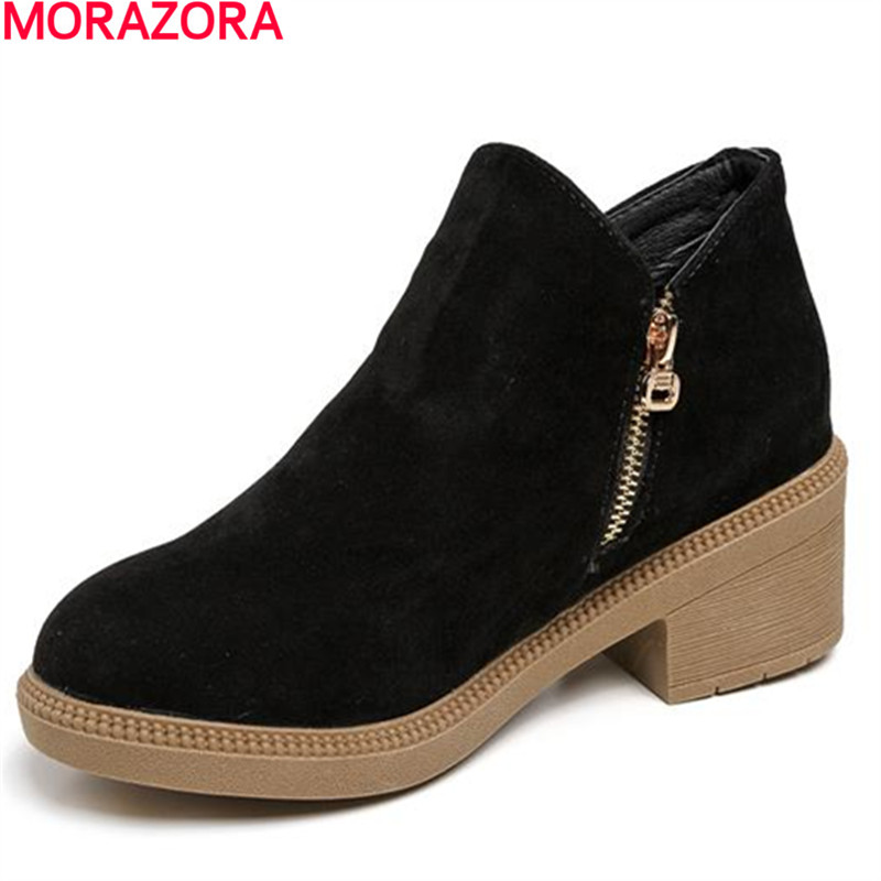 2016 high quality Hot sale winter women flock ankle boots zip low square heel solid dress casual shoes with nubuck leather<br><br>Aliexpress