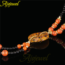 Ajojewel Brand New Coat Chain Fashion Black & Orange Lampwork Glass Pendant Necklace Elegant Gifts For Women(China)