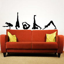 Popular Home Claptrap Decor Difficult Yoga Poses Wall Decals Vinyl Stickers Yoga Studio Fitness Derative Adhesives Poster S-116(China)