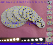 220v 5730 SMD dimmable led pcb plate 3W 5W 7W 10W 12W 15W 18W 24W integrated ic driver lamp panel White Warm White