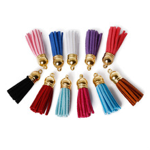 100pcs Mix Color Suede Tassel For Keychain Cellphone Straps Jewelry Charms,38mm Leather Tassels With Plated Caps Diy Accessories(China)