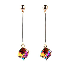 DingTing fashion fine jewelry gold plating crystal geometry Multi-color long drop earrings for women boucle d'oreille femme(China)
