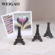 WEIGAO 10pcs Vintage Iron Eiffel Tower Place Card Holders Wedding Creative Name Card Note Photo Birthday Gifts Wedding Favor(China)