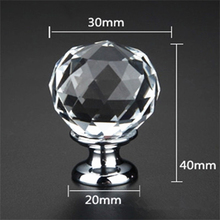 Wholesale 30mm Transparent Ball Style Crystal Glass Furniture Cabinet Drawer Handle Knob