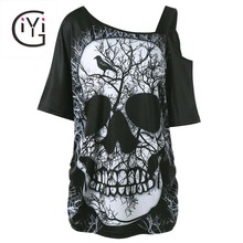 GIYI Plus Size 5XL Skew Collar Skull Print T-shirt Women Summer 2017 One Shoulder Loose Top Tee Shirt Sexy Big Size T Shirts(China)