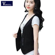 2016  Women Wardrobe waistcoat Slim cotton vest Buttons Decoration Vests Female Sleeveless Waistcoat Women Clothing