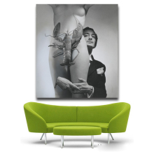 Salvador Dali protrait nude girl and shrimp Pop Art Oil Painting Face Portrait Print Wall Painting For Living room No Frame