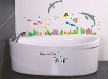 under the sea wall sticker for shower tile stickers in the bathroom for children kids on bath bathing pool Bathtub AY752