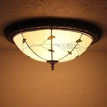 Tiffany Ceiling lamps bedroom balcony window aisle porch lights Green leaf edge lighting creative personality Circular Lights