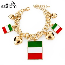 Szelam Love Brand Gold Chain Bangles Italy Country Flag Bracelets With Heart Pendants Pulseras Mujer Sbr150378