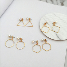 The pendants Square contracted fashion minimalist geometric triangle circle pearl earring eardrop female accessories