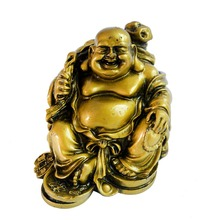 Chinese Brass Wealth YuanBao Coin Bag Happy Laughing Maitreya Buddha Statue A2040