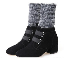 Knitted Combat Boots Women Flower Rivet Botas Mujer High Heels Buckle Short Shoes Wman sock Spiked 2017 Hot sale Sapato Feminino(China)
