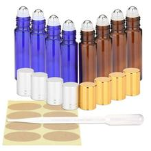 8pcs 10ml  Roll On Essential Oil Glass Bottles with Stainless Steel Roller Balls for Essential Oil Aromatherapy Perfume