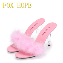 Leopard Shoes Woman Summer Sandals Feather Slides High - heeled Shoes 7-10cm Model Catwalk Transparent Glass Crystal Slippers