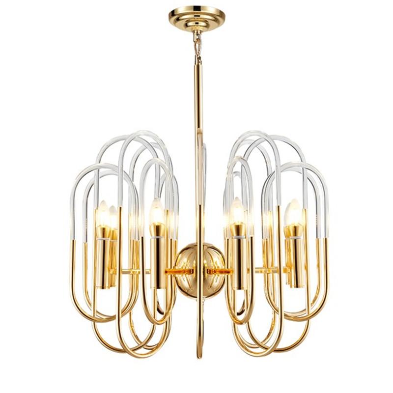 postmodern gold metal acrylic tube chandelier