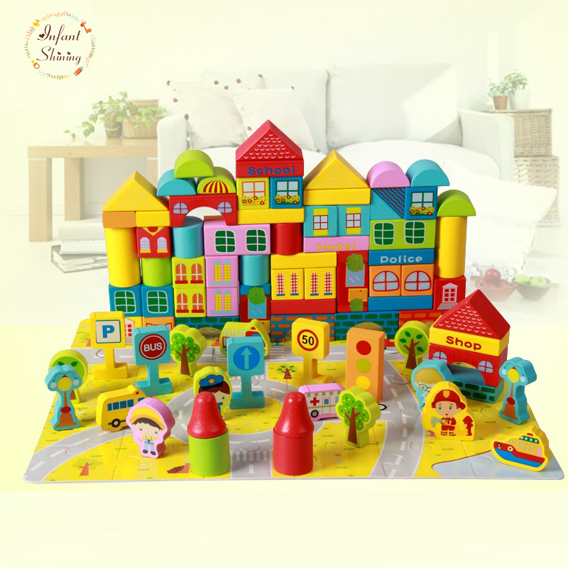 2017 Wooden Juguetes Avengers Building Blocks 100 Pieces Of Big City Baby Children Early Lessons Child 1-2-3-6 Years Of Age <br>