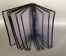 10 Sheet Panel Transparent Menu Holder With Plastic Pockets
