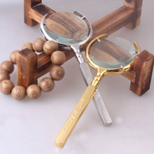 1Pcs/Lot 8X Handheld Reading Magnifier Gold & Silver Russian Magnifying Glass Lupa Loupe Watch Cell Phone Repair(China)