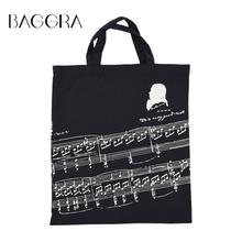 Baggra Musical Notation Pattern Bags For Women Washable Cotton Cloth Handbag Music Tote Shoulder Grocery Shopping Bolsa Feminina