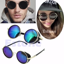 2017 Cyber Goggles 50s Round Glasses Classic Steampunk Sunglasses Retro Style Blinder MAR18_15(China)