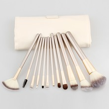 20set/lot Professional 12pcs Makeup Brushes Set Powder Blusher Cosmetic Make Up Tools with Roll Up Leather Case
