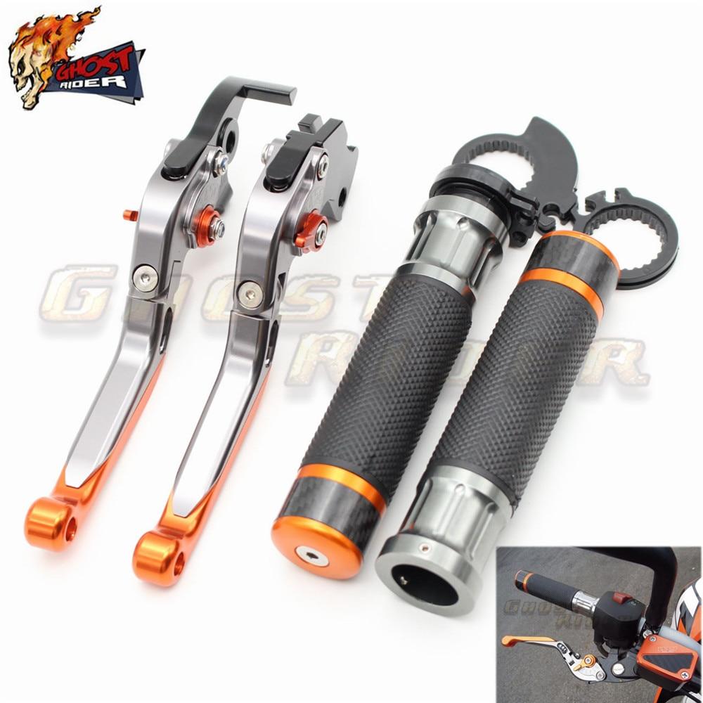 fits for KTM 125/200/390 DUKE 2013-2015, RC 125/200/390 2014-2015 CNC Folding Brake Clutch Levers Handlebar Hand Grips Set<br><br>Aliexpress