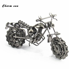 Retro motorcycle model Creative Iron craft Metal motorbike model Furnishing  crafts Christmas decorations Creative children