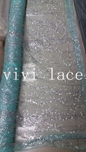 5yards HLL101# mint green silver glued glitter print african india lace mesh tulle for wedding/evening dress/party,send by dhl(China)