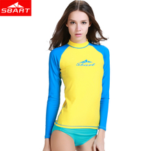 SBART Women Long Sleeve Rashguard Tops Sun Protection Swim Rash Guard UV manga comprida Lycra Surf Swimwear For Women Swimsuit K(China)