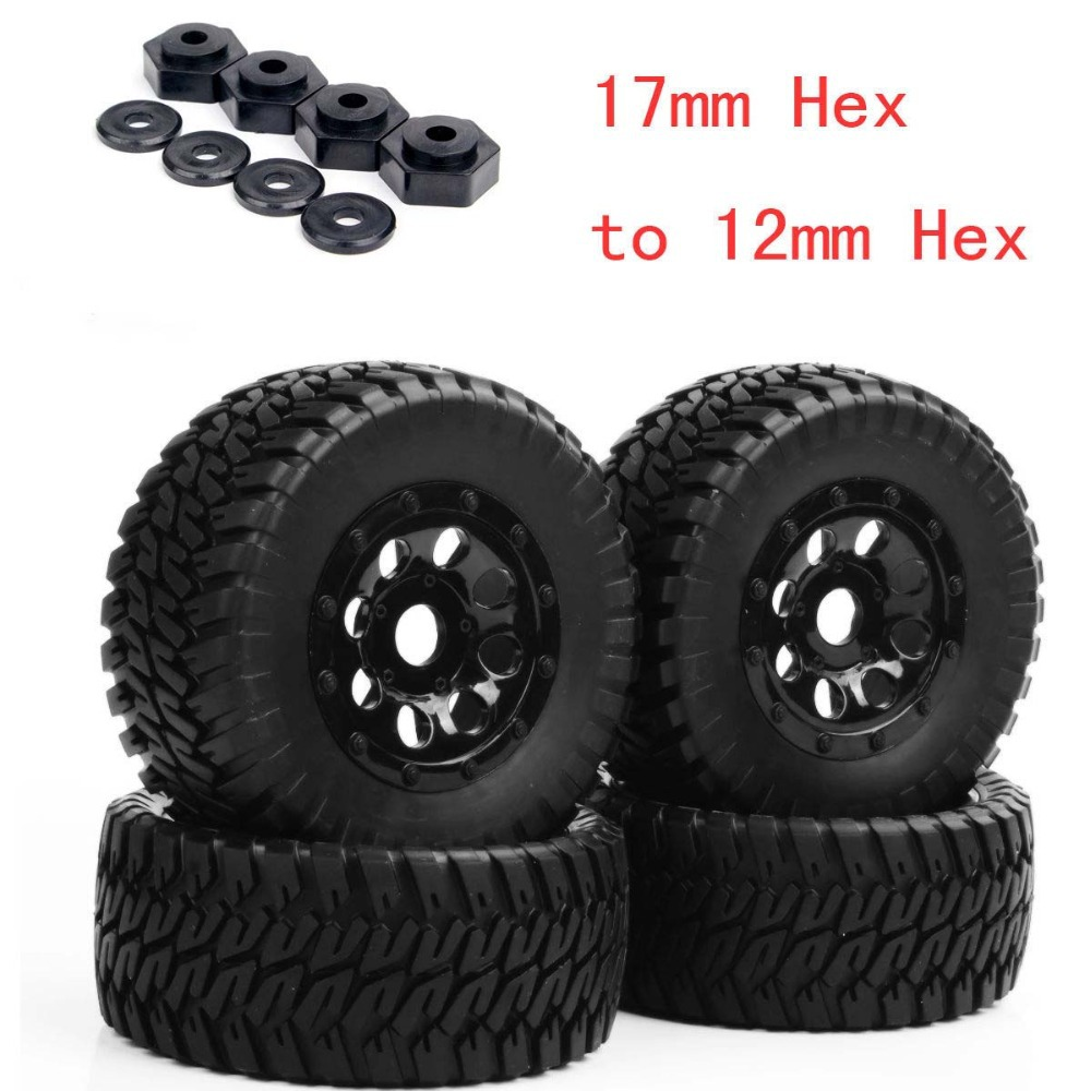 4 PCS RC 1:10 Short Course Truck Tyre Tires &amp; Wheel Rim PP1002K +PP0340 For TRAXXAS SLASH With 4pcs 17mm hex to 12mm hex Adapter<br><br>Aliexpress