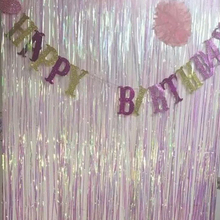 Party Supplies Shimmer Metallic Fringe Foil Tinsel Curtain Room Wall Backdrop Wedding Christmas Birthday Event Home Decoration